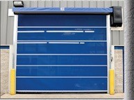Blue door with yellow bumpers on both sides